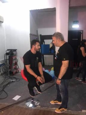 """Ο Γιώργος στα backstage της εκπομπής """"The Λούης Night Show"""" μαζί με τον Λούη - 24 Οκτωβρίου 2017 Φωτογραφία: alphanewslive"""