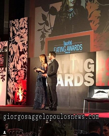 Ο Γιώργος και η Ντορέττα κατά τη διάρκεια της παρουσίασης των Time Out Eating Awards στις 28 Νοεμβρίου 2017 Φωτογραφία: giorgosaggelopoulosnews.com