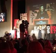 Ο Γιώργος και η Ντορέττα κατά τη διάρκεια της παρουσίασης των Time Out Eating Awards στις 28 Νοεμβρίου 2017 Φωτογραφία: panayiotouevie Instagram