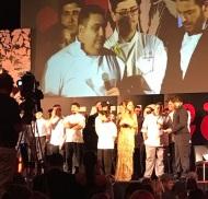 Ο Γιώργος και η Ντορέττα μαζί με τον Χριστόφορο Πέσκια και την ομάδα του κατά τη διάρκεια των Time Out Eating Awards στις 28 Νοεμβρίου 2017 Φωτογραφία: panayiotouevie Instagram