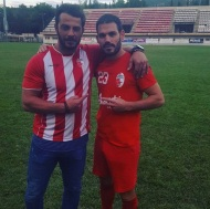 Ο Γιώργος μαζί με τον ποδοσφαιριστή Δημήτρη Αδημάκη στο γήπεδο του Εθνικού Αστέρα στην Καισαριανή - 11 Οκτωβρίου 2018 Φωτογραφία: adamakhs Instagram