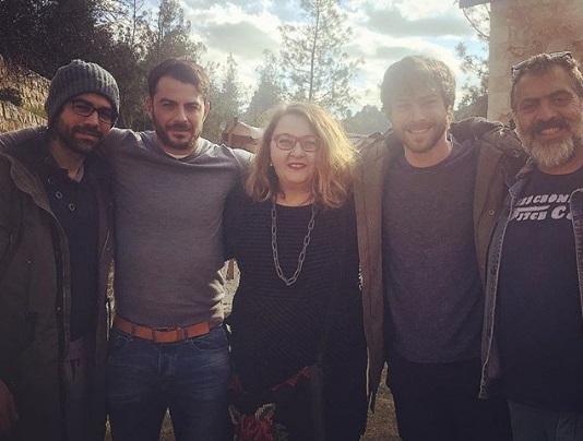 """Ο Γιώργος στο set του """"Τατουάζ"""" μαζί με τους Ανδρέα Γεωργίου, Ισαβέλλα Σασλόγλου, Στέφανο Μιχαήλ και Κούλλη Νικολάου στις 30 Ιανουαρίου 2018 Φωτογραφία:"""