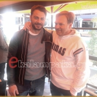 Ο Γιώργος μαζί με τον πρώην συμπαίκτη του και νυν προπονητή Βασίλη Γκούμπλια στην Καλαμπάκα - 5 Φεβρουαρίου 2018 Φωτογραφία: ekalampaka.gr