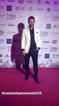 """Ο Γιώργος στα 13α βραβεία Madame Figaro """"Γυναίκες της χρονιάς"""" που έγιναν στο Δημοτικό Θέατρο Στροβόλου στις 17 Απριλίου 2018 Φωτογραφία: official_danos_ga Instagram"""
