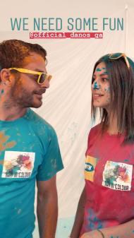"""Ο Γιώργος και η Κωνσταντίνα κατά τη φωτογράφιση της εκδήλωσης """"Run in Colour"""" - 3 Μαΐου 2018 Φωτογραφία: con_ev Instagram"""