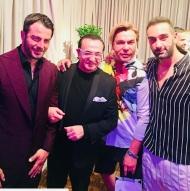 Ο Γιώργος με τους Λευτέρη Πανταζή, Τρύφωνα Σαμαρά και Νίκο Κοκλώνη στο πάρτι του TLife που έγινε στο Galaxy Bar & Restaurant στο Hilton - 21 Ιουνίου 2018 Φωτογραφία: lepa_official Instagram
