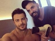 Ο Γιώργος κατά την προετοιμασία του για τα βραβεία Mad που έγιναν στις 27 Ιουνίου 2018 Φωτογραφία: to_barberiko Instagram