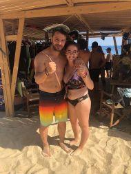 Ο Γιώργος με φαν στο Salto WaterSports στις Κουκουναριές Σκιάθου - 21 Ιουλίου 2018 Φωτογραφία: balentinakoutra_ Instagram