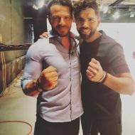 Ο Γιώργος μαζί με τον Ανδρέα Ευτυχίου στα στούντιο του Sigma TV όπου βρέθηκε για συνέντευξη στις 12 Οκτωβρίου 2018 Φωτογραφία: andrew_g1_ Instagram