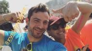"""Ο Γιώργος μαζί με τη διοργανώτρια της εκδήλωσης """"Run in Color"""" στη Λεμεσό κατά τη διάρκεια της εκδήλωσης - 13 Οκτωβρίου 2018 Φωτογραφία: official_danos_ga Instagram"""