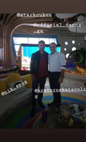 """Ο Γιώργος μαζί με τον Κρατερό Κατσούλη κατά τη συνέντευξή του στην εκπομπή """"Στη φωλιά των Κου Κου"""" στις 29 Νοεμβρίου 2018 Φωτογραφία: elena_gerarhaki Instagram"""