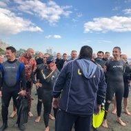 """Ο Γιώργος στην εκδήλωση """"Κολυμπώ με τους Ο.Υ.Κ. για τους μικρούς ήρωες"""" στη Λεμεσό - 22 Δεκεμβρίου 2018 Φωτογραφία: kyriakidestella twitter"""