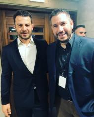 Ο Γιώργος με τον Χάρη Λεμπιδάκη στα βραβεία Madame Figaro - Γυναίκες της χρονιάς για το 2019 - 16 Απριλίου 2019 Φωτογραφία; harislebi Instagram