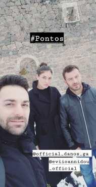 """Ο Γιώργος, ο Κώστας Αγέρης και η Εύη Ιωαννίδου κατά τη διάρκεια των γυρισμάτων του video clip του τραγουδιού του Κώστα Αγέρη """"Για σένα πατρίδα μου"""" για τον Πόντο Φωτογραφία: kostas_ageris Instagram"""