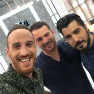 """Ο Γιώργος μαζί με τους παρουσιαστές της εκπομπής """"Έλα να δεις"""", Τάσο Θεοδώρου και Χάρη Αριστείδου - 31 Μαΐου 2019 Φωτογραφία: tasos_theodorou Instagram"""
