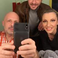 """Ο Γιώργος μαζί με τον Νίκο Μουτσινά και τη Ματίνα Νικολάου στην πρεμιέρα της θεατρικής παράστασης του πρώτου, """"Βερβερίτσα Reloaded"""" στο θέατρο Λαμπέτη - 28 Νοεμβρίου 2019 Φωτογραφία: nikosmoutsinas Instagram"""