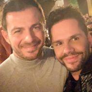 """Ο Γιώργος μαζί με τον Γιώργο Τσαλίκη στην πρεμιέρα της θεατρικής παράστασης του Νίκου Μουτσινά, """"Βερβερίτσα Reloaded"""" στο θέατρο Λαμπέτη - 28 Νοεμβρίου 2019 Φωτογραφία: tsalikisgiorgos Instagram"""