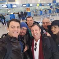 Ο Γιώργος στο αεροδρόμιο της Θεσσαλονίκης κατά την άφιξη στην πόλη για τη βραδινή avant premiere της ταινίας Χαλβάη 5-0 - 28 Ιανουαρίου 2020 Φωτογραφία: Pavlos Vozas Facebook