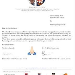 Ο Γιώργος ως επίσημο μέλος των διεθνών βραβείων Giuseppe Sciacca (επιστολή στα αγγλικά)